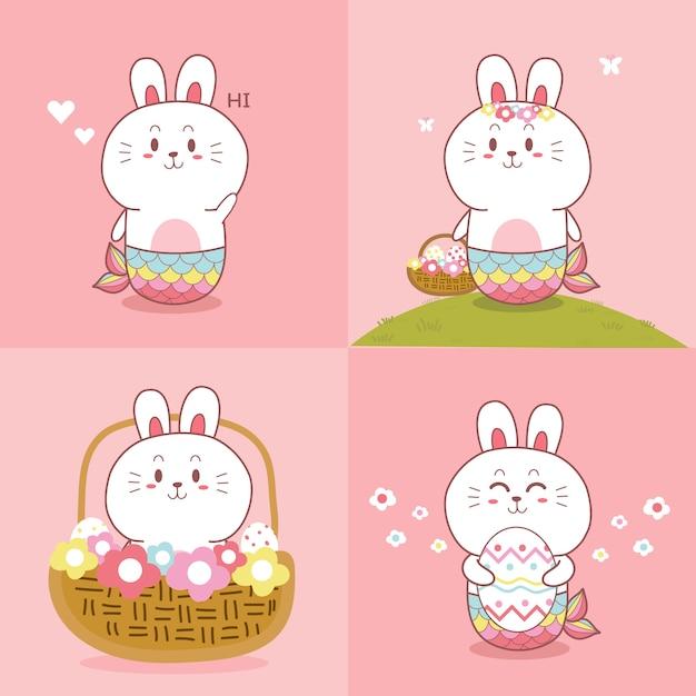 Raccolta disegnata a mano del fumetto di kawaii della sirena sveglia del coniglietto Vettore Premium