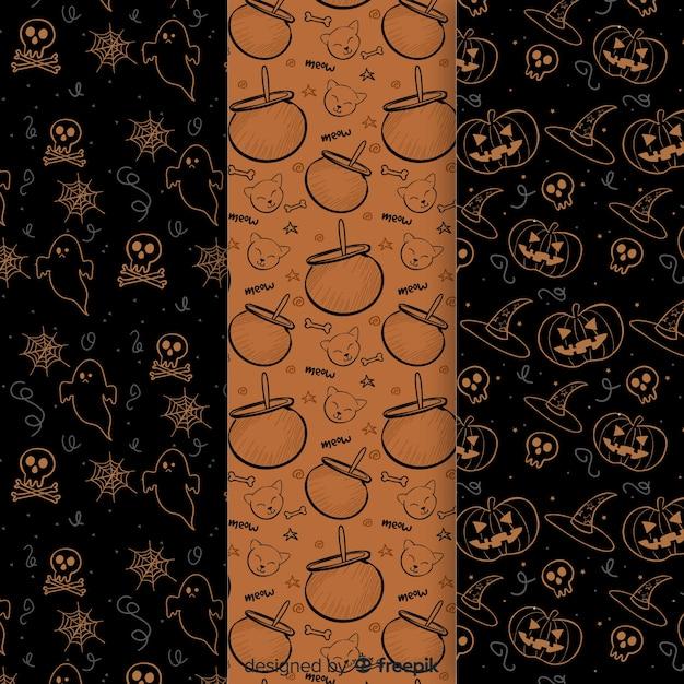 Raccolta disegnata a mano del modello degli elementi di halloween Vettore gratuito
