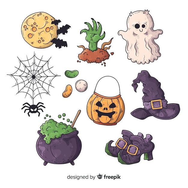 Raccolta disegnata a mano dell'elemento di halloween su fondo bianco Vettore gratuito