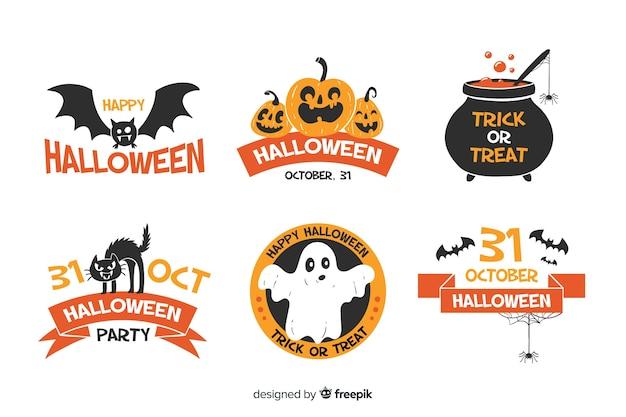 Raccolta disegnata a mano dell'etichetta e del distintivo di halloween su fondo bianco Vettore gratuito