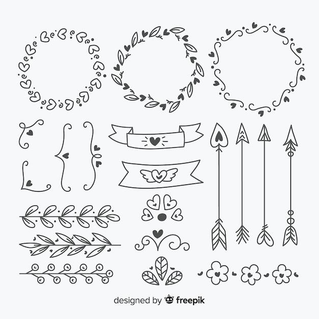 Raccolta disegnata a mano dell'ornamento di nozze isolata Vettore gratuito