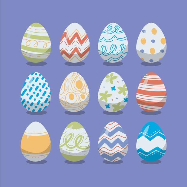 Raccolta disegnata a mano dell'uovo di giorno di pasqua Vettore gratuito