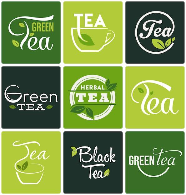 Raccolta disegni di tè Vettore gratuito