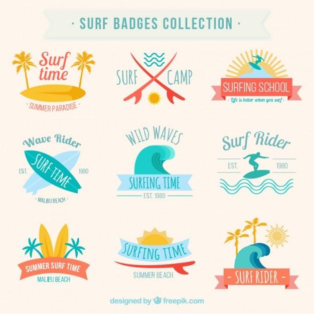 Raccolta distintivi surf Vettore gratuito