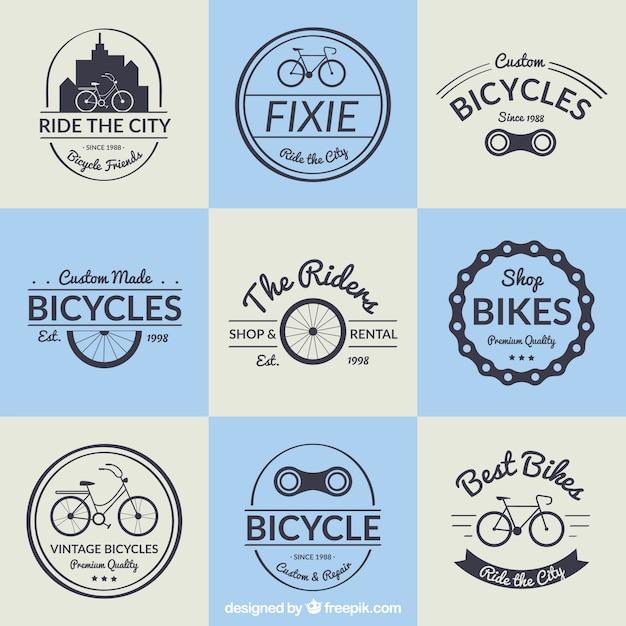 Raccolta distintivo biciclette in design vintage Vettore gratuito