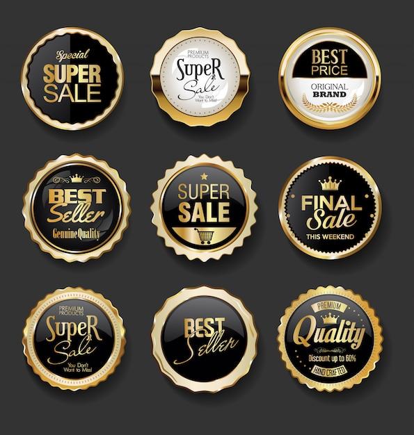 Raccolta eccellente di vendita dell'illustrazione dei distintivi dell'oro e del nero Vettore Premium