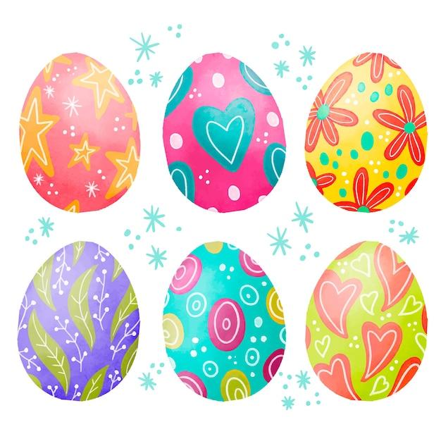 Raccolta felice dell'uovo di giorno di pasqua dell'acquerello Vettore gratuito