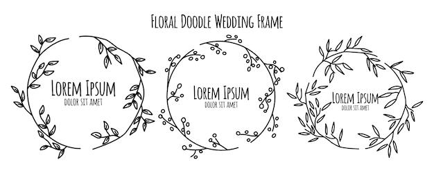 Raccolta floreale del modello dell'ornamento della struttura di nozze di schizzo di scarabocchio del fiore Vettore Premium