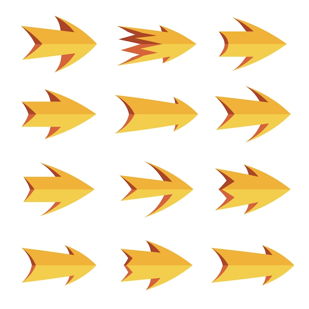 raccolta frecce gialle Vettore gratuito