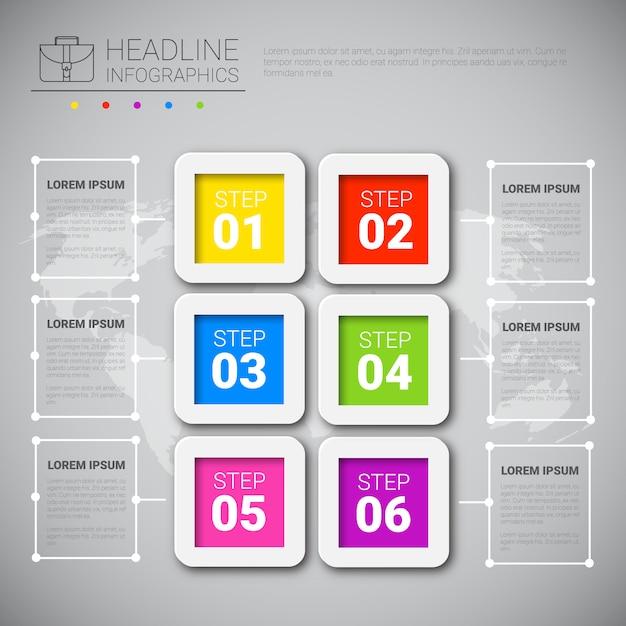 Raccolta grafica di dati di affari di progettazione di infographic del titolo sopra lo spazio della copia di presentazione della mappa di mondo Vettore Premium