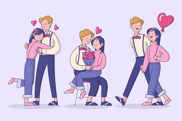 Raccolta illustrata coppia di san valentino Vettore gratuito