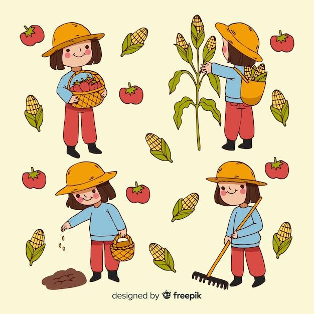 Raccolta illustrata operai agricoli di progettazione piana Vettore gratuito