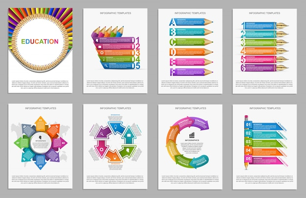 Raccolta infografica per presentazioni. Vettore Premium