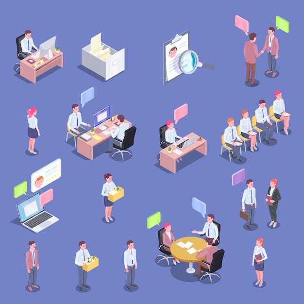 Raccolta isometrica della gente di assunzione dei caratteri umani isolati dei candidati e degli intervistatori di lavoro con l'illustrazione delle bolle di pensiero Vettore gratuito