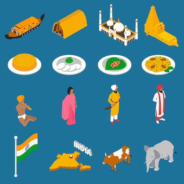 Raccolta isometrica delle icone delle attrazioni turistiche indiane Vettore gratuito