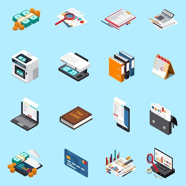 Raccolta isometrica delle icone di imposta di contabilità con la macchina di conteggio dei contanti del calcolatore della carta di credito di rendiconti finanziari isolata Vettore gratuito