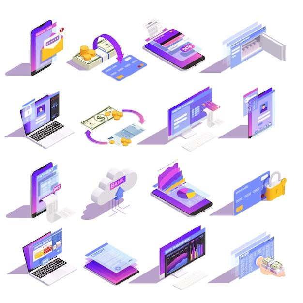 Raccolta isometrica delle icone di servizi bancari online di internet con caricamento del denaro sul credito della costruzione di carta Vettore gratuito