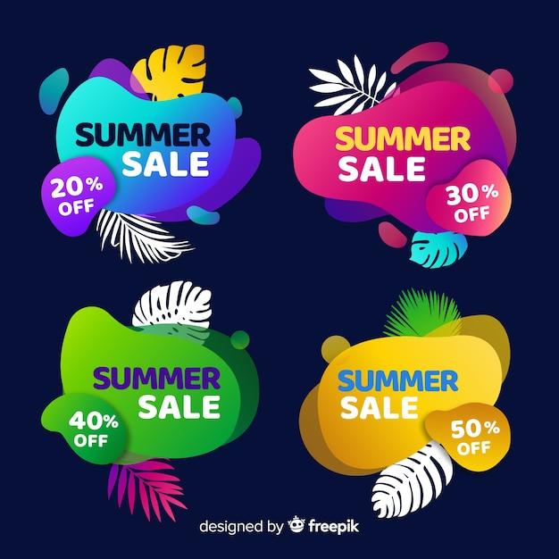 Raccolta liquida variopinta dell'insegna di vendita di estate Vettore gratuito
