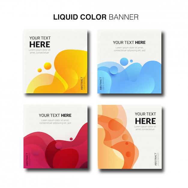 Raccolta moderna dell'insegna di colore liquido. Vettore gratuito