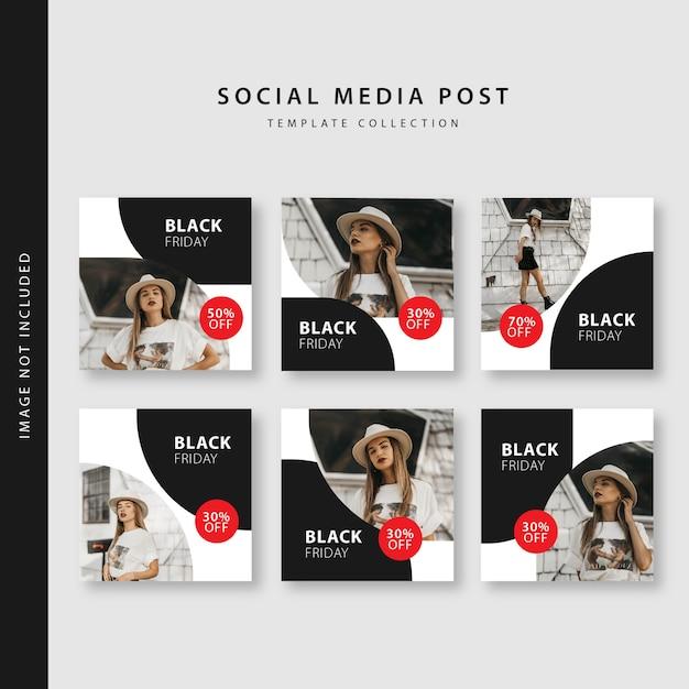 Raccolta nera del modello del post di instagram di venerdì Vettore Premium