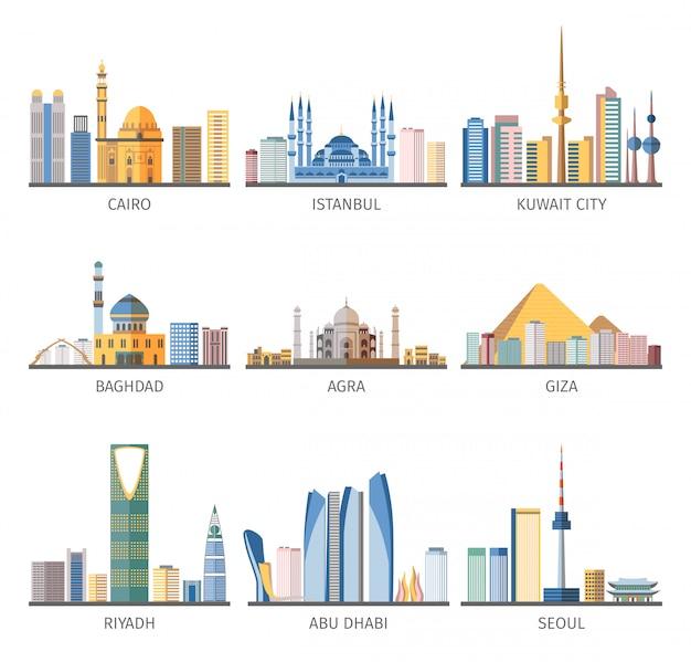 Raccolta piana delle icone dei punti di riferimento di paesaggi urbani orientali Vettore gratuito