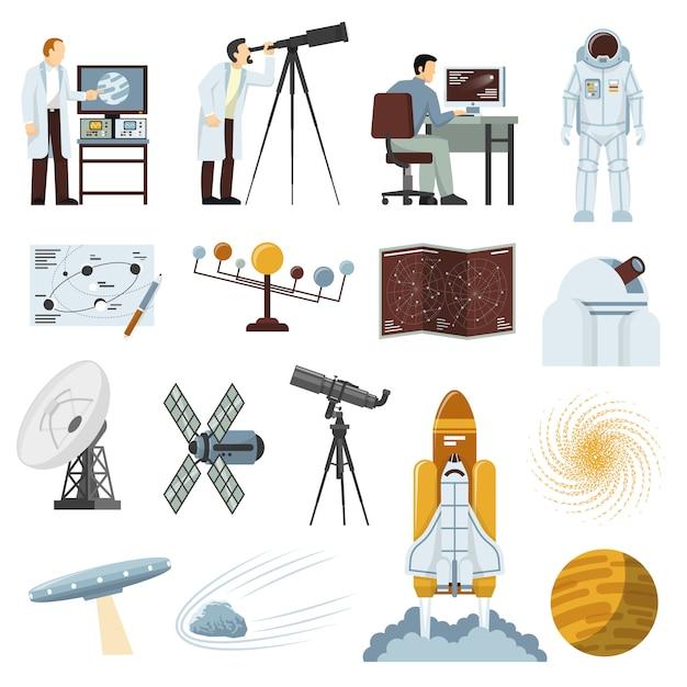 Raccolta piana delle icone dell'attrezzatura di ricerca di astronomia Vettore gratuito