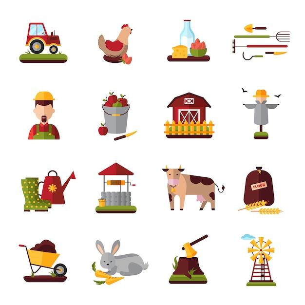 Raccolta piana delle icone della famiglia agricola dell'azienda agricola con gli animali domestici del bestiame Vettore gratuito