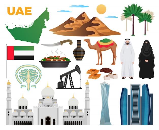 Raccolta piana delle icone di viaggio dei uae con l'illustrazione moderna della moschea di architettura delle montagne di cucina dell'abbigliamento della bandiera nazionale dei punti di riferimento Vettore gratuito