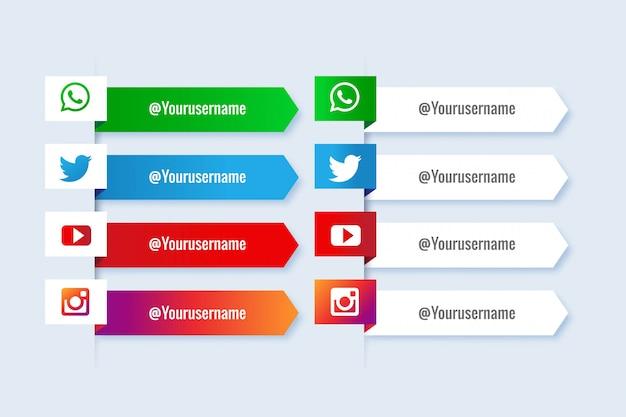 Raccolta popolare di social media terzi inferiori con infografica Vettore gratuito