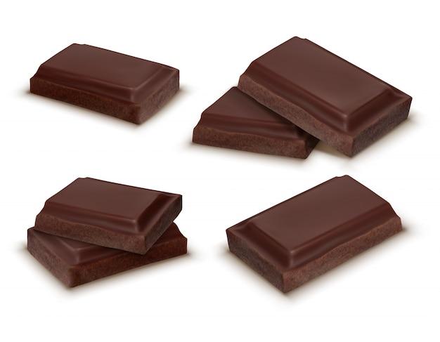 Raccolta realistica 3d di pezzi di cioccolato. barrette deliziose marroni per confezionare mock up, confezione Vettore gratuito