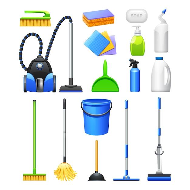 Raccolta realistica delle icone delle attrezzature e degli accessori di pulizia con le spazzole dell'aspirapolvere Vettore gratuito