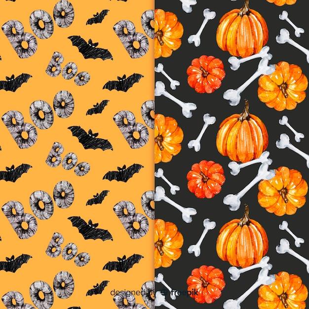 Raccolta senza cuciture del modello del pipistrello e della zucca di halloween dell'acquerello Vettore gratuito