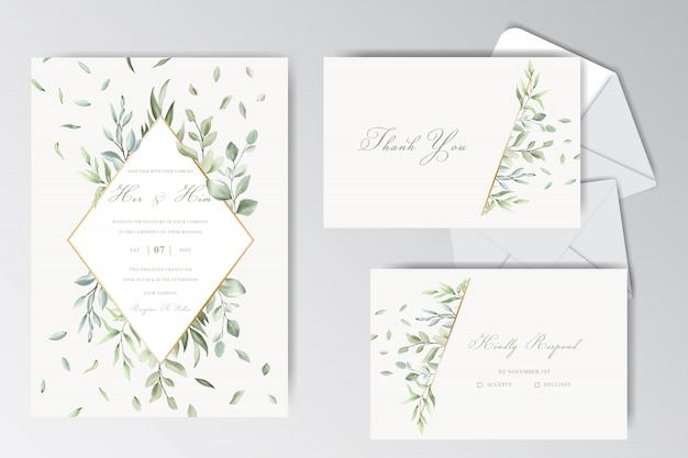 Raccolta stazionaria del modello di belle nozze dell'acquerello con fogliame Vettore Premium