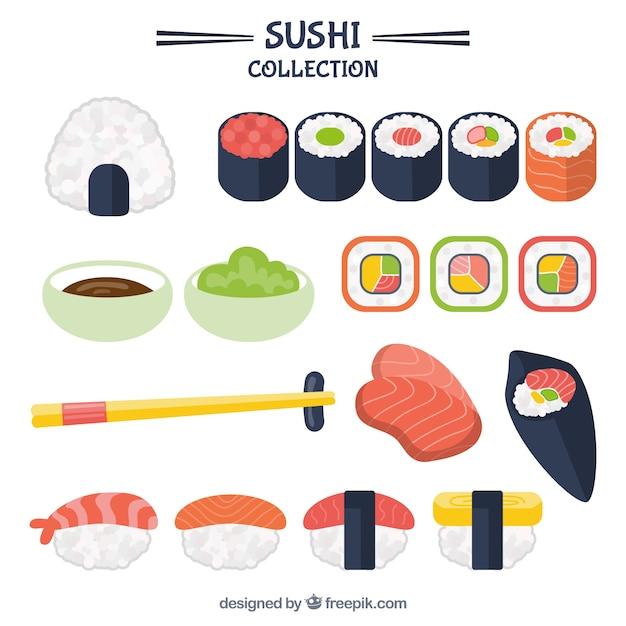 Raccolta sushi delicious Vettore gratuito