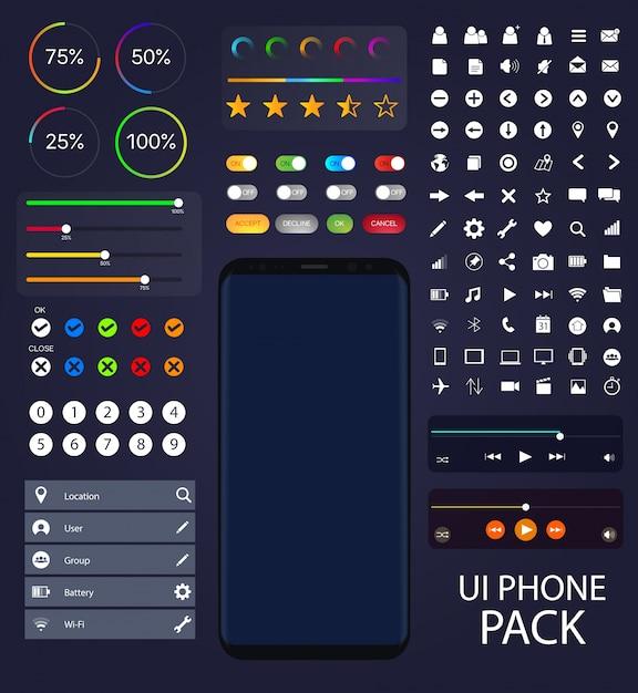 Raccolta telefonica ui moblie elementi vettoriali di pacchetto di interfaccia utente mock-up Vettore Premium