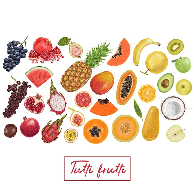 Raccolta tropicale di frutta succosa fresca Vettore Premium