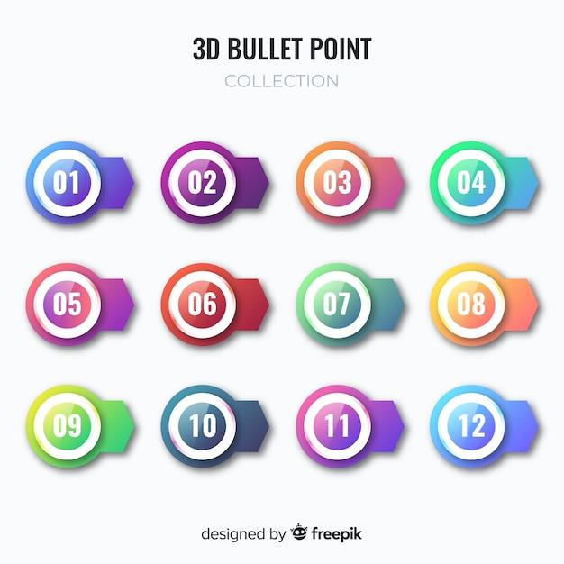 Raccolta variopinta del punto di proiettile 3d Vettore gratuito