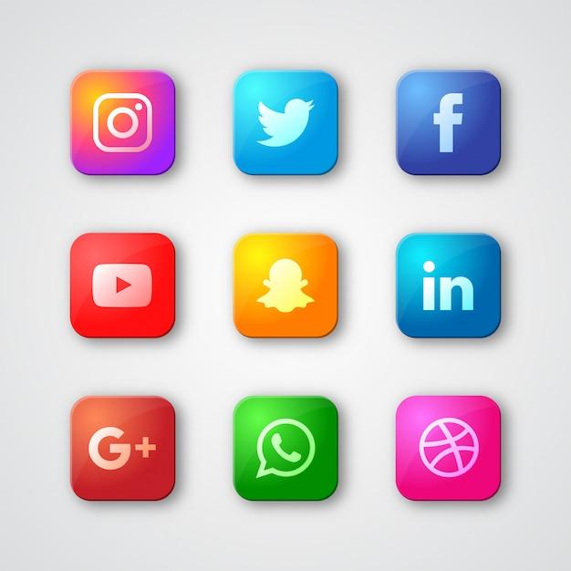 Raccolta variopinta di logo di media sociali Vettore Premium