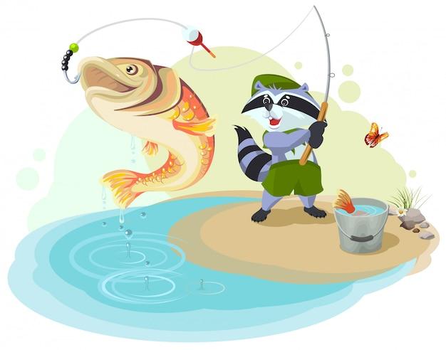 Raccoon scout fishing. il pescatore pescava pesci grossi Vettore Premium