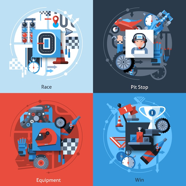 Racing icons set Vettore gratuito