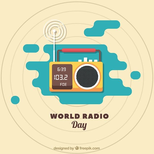 Radio giorno del mondo di fondo a struttura piatta Vettore gratuito