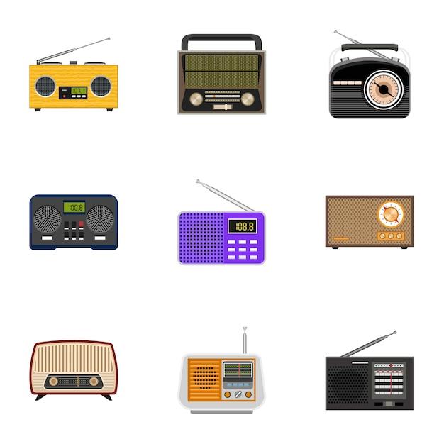 Radio set, stile piatto Vettore Premium