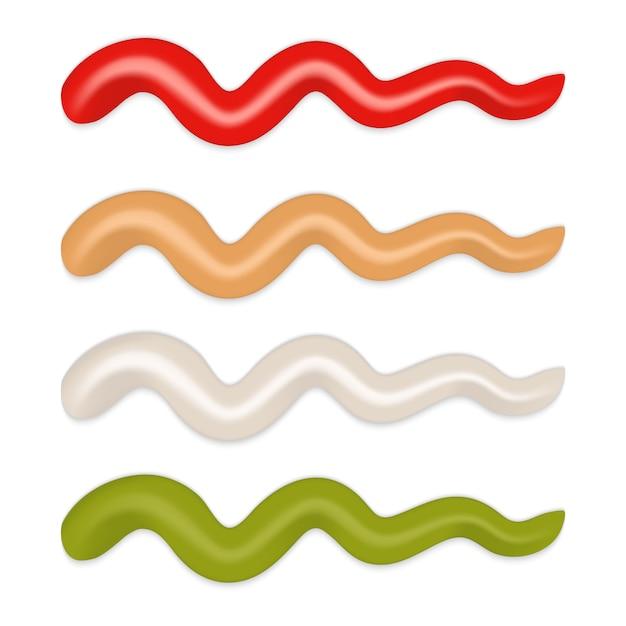 Raffigurante strisce di salsa diversa isolata. maionese, ketchup, wasabi wasard Vettore Premium