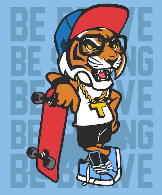 Raffreddare disegno vettoriale di skateboard tigre Vettore Premium