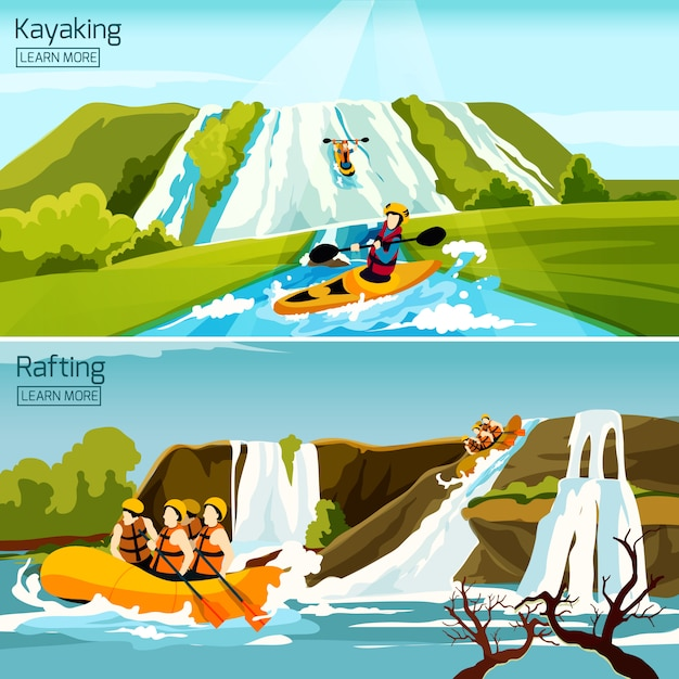 Rafting canoeing kayaking compositions Vettore gratuito