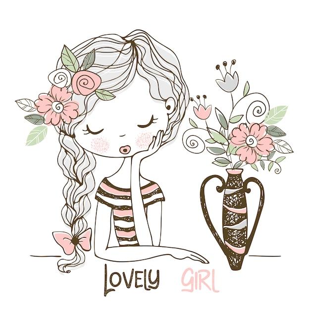 Ragazza adorabile con i fiori in un vaso. stile doodle. Vettore Premium