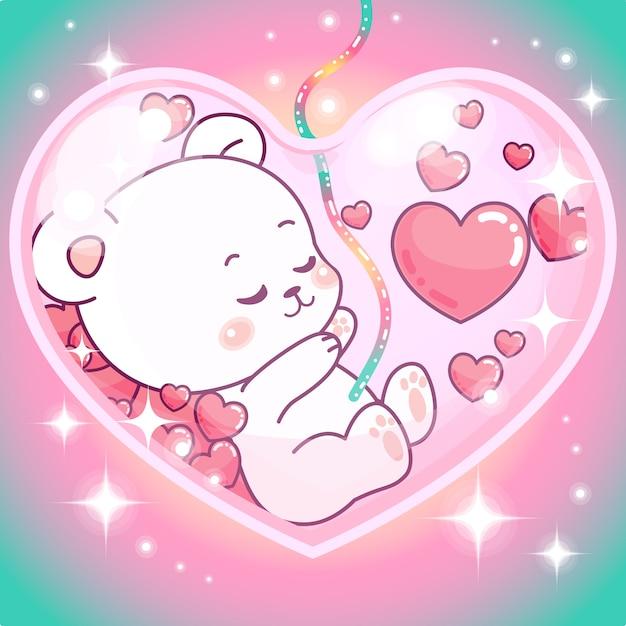 Ragazza adorabile dell'orsacchiotto all'interno della pancia della mamma Vettore Premium