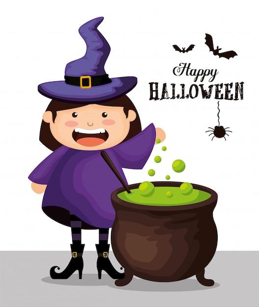 Ragazza agghindata come strega su halloween Vettore gratuito