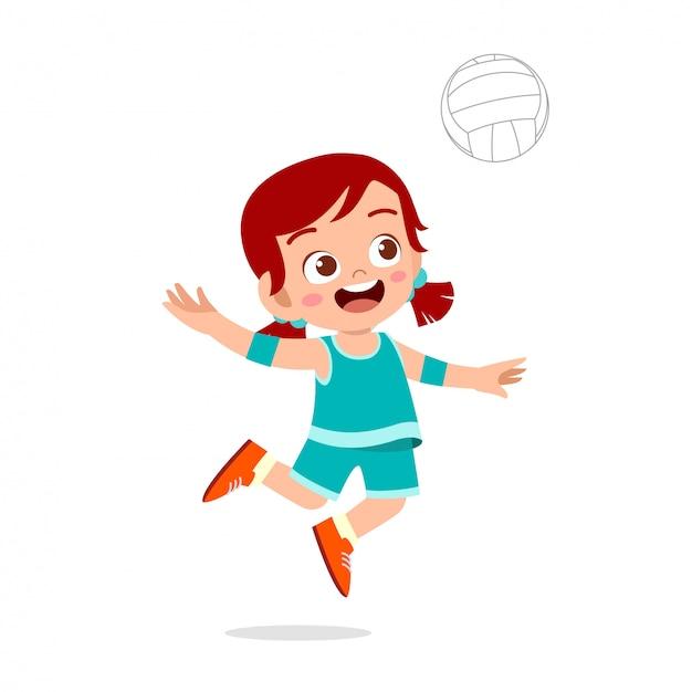 Ragazza carina bambino felice giocare a pallavolo in treno Vettore Premium