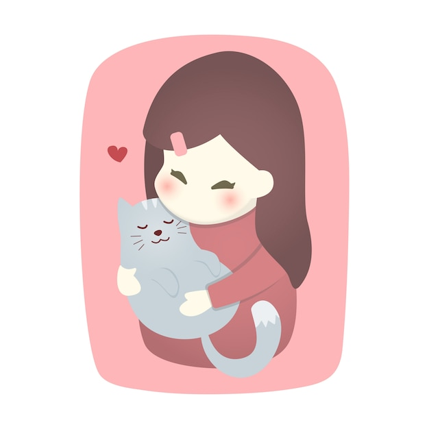 Ragazza carina che abbraccia il gatto con amore Vettore Premium